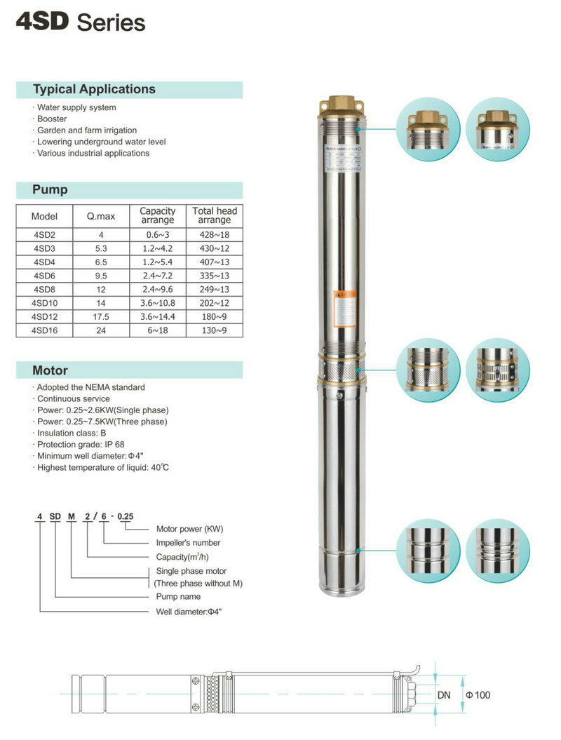 JT sk borehole pump selection guide manufacture for farm