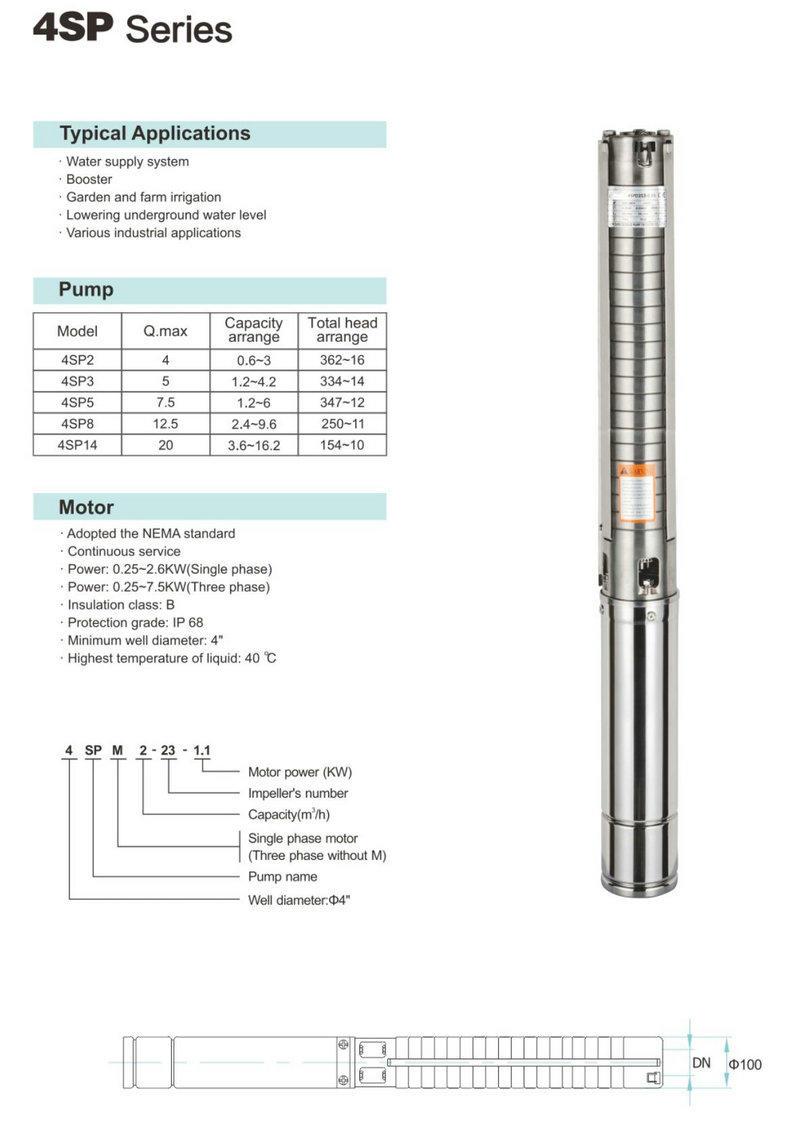 Open Well Water Pump Bore Hole Pump 4SP3