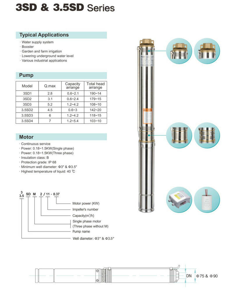 JT easy operation dc borehole pumps irrigation for garden-2