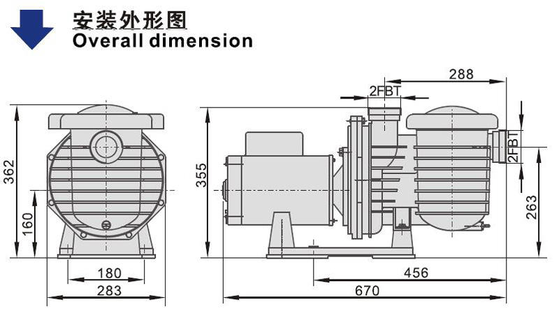 JT sua200Ⅰ inground swimming pool pumps system for SPA pump-2